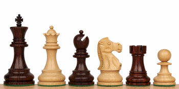 Deluxe Old Club Staunton Chess Set in Rosewood Boxwood 375 King
