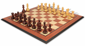 Deluxe Old Club Staunton Chess Set in Rosewood Boxwood with Rosewood Molded Chess Board 375 King