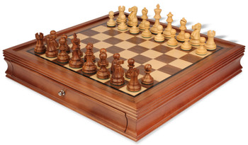 Deluxe Old Club Staunton Chess Set Golden Rosewood Boxwood Pieces with Walnut Chess Case 325 King