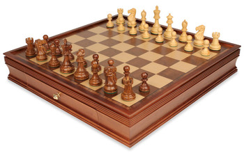 Deluxe Old Club Staunton Chess Set in Golden Rosewood Boxwood with Large Walnut Chess Case 375 King