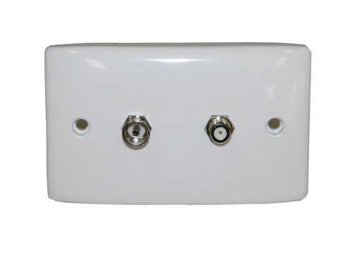 Hills BC86814 F-Type and PAL Female Dual Outlet Wall Plate