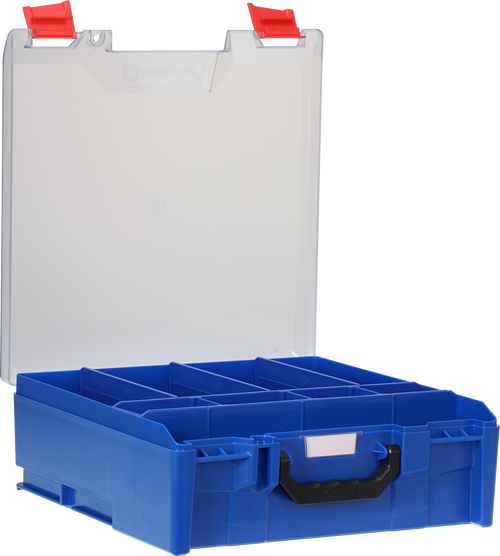 StorageTek Case Large Clear PC Lid c/w dividers-Blue