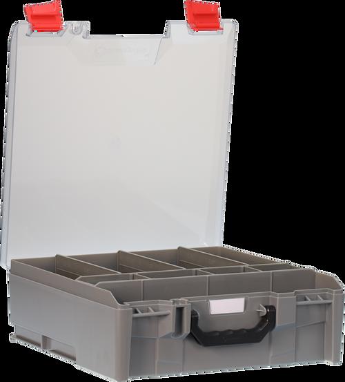 StorageTek Case Large Clear Lid PC c/w dividers-Grey