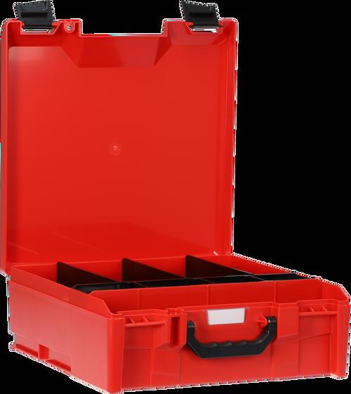 StorageTek Case Large ABS Lid c/w dividers-Red with Black Clasps