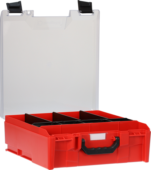 StorageTek Case Large Clear PC Lid c/w dividers-Red with Black Clasps