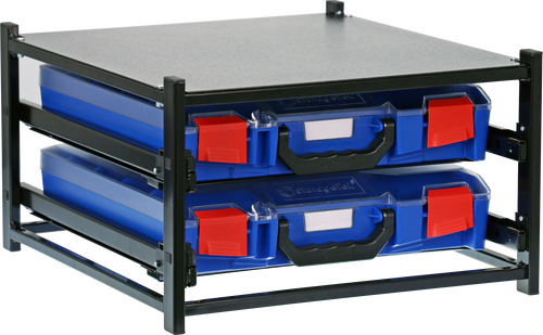 2 Small Drawer Frame Assembled c/w 2 Small PC Lid Cases- Blue