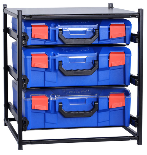 2 Large Drawer Frame + 1 Small Drawer Assembled c/w PC Lid Cases- Blue Blue Cases