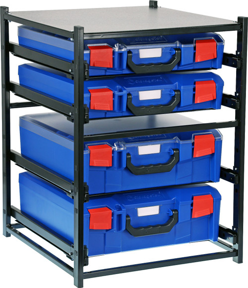 2 Large Drawer Frame + 2 Small Drawer Assembled c/w PC Lid Cases- Blue Blue Cases