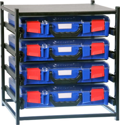 4 Small Drawer Frame Assembled c/w 4 Small PC Lid Cases- Blue