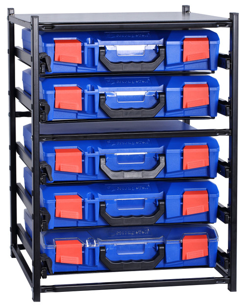 5 Small Drawer Frame Assembled c/w 5 Small PC Lid Cases- Blue