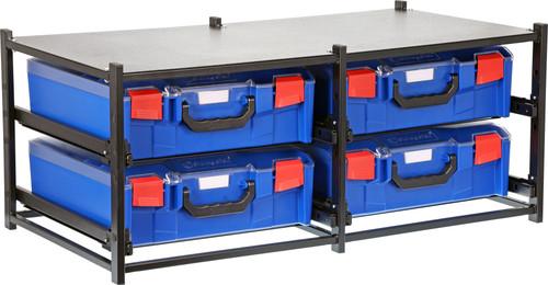 Dual Frame assembled c/w 4 Large PC Lid  Cases-Blue