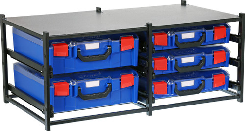 Dual Frame assembled c/w 2 Large  + 3 Small PC lid Cases- Blue