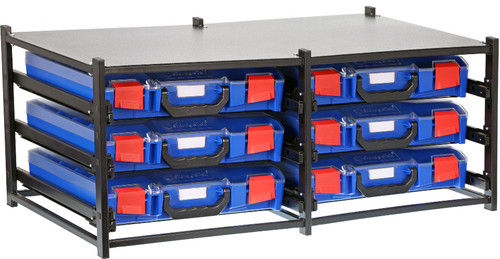 Dual Frame assembled c/w 6 Small PC lid Cases- Blue