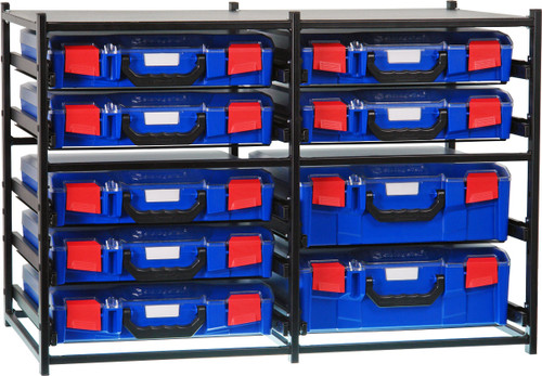 2 Large Drawer Frame + 7 Small Drawer Assembled c/w PC Lid Cases Blue Cases