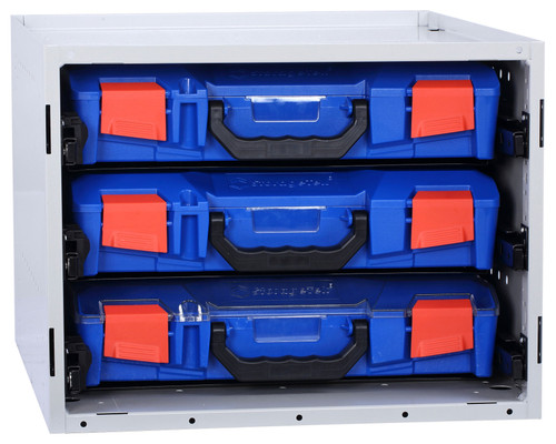 Cabinet c/w 3 Small PC Lid Cases - Blue