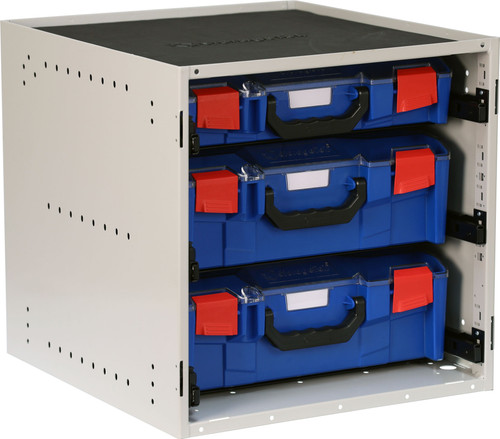 Cabinet c/w 2 Large + 1 Small PC Lid Case - Blue