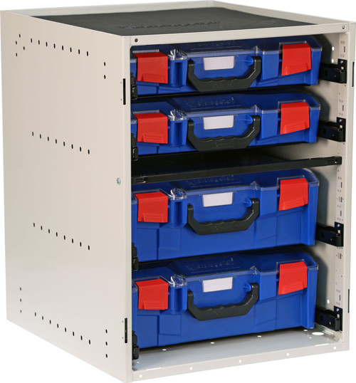 Cabinet c/w 2 Large + 2 Small PC Lid Cases - Blue
