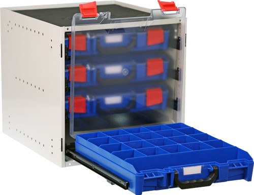 Cabinet c/w 4 small PC Lid Cases - Blue