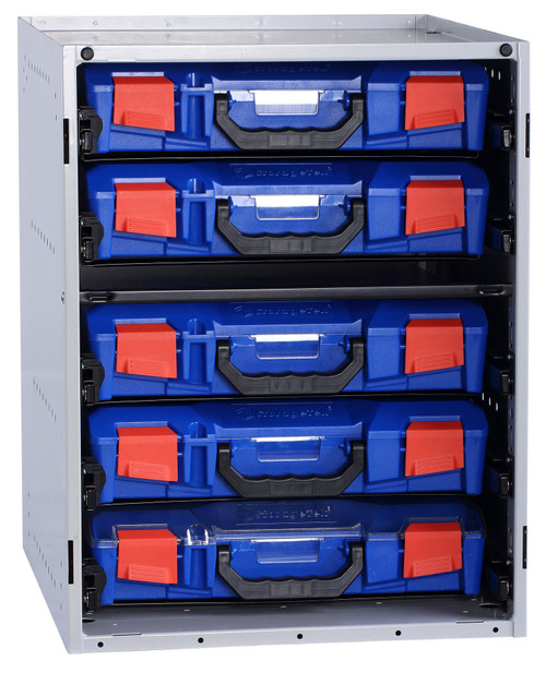 Cabinet c/w 5 Small PC Lid Cases - Blue