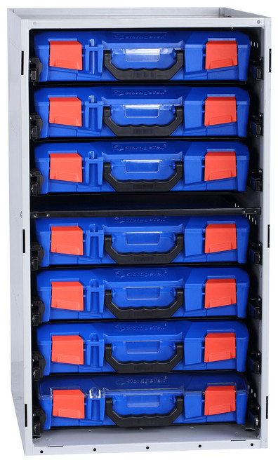Cabinet c/w 7 Small PC Lid Cases - Blue