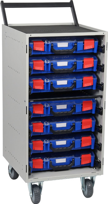 Cabinet Trolley c/w 7 Small PC Lid Cases- Blue