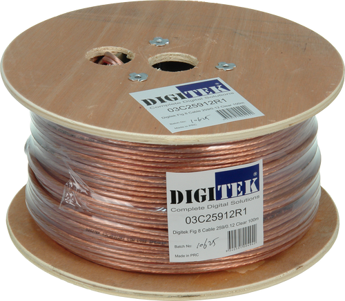 Digitek Figure 8 259 Strand/0.12mm Clear Speaker Cable 100m Reel