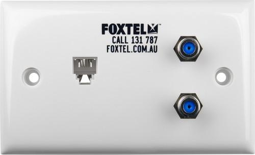 Wallplate Dual F Type Barrel 3GHz + Mod Socket