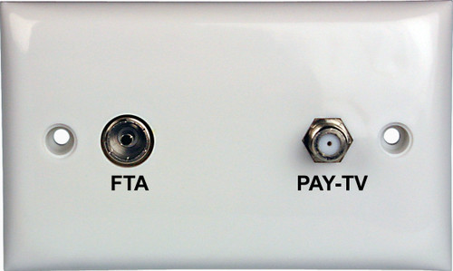 Wallplate Single F Type & Pal Connections