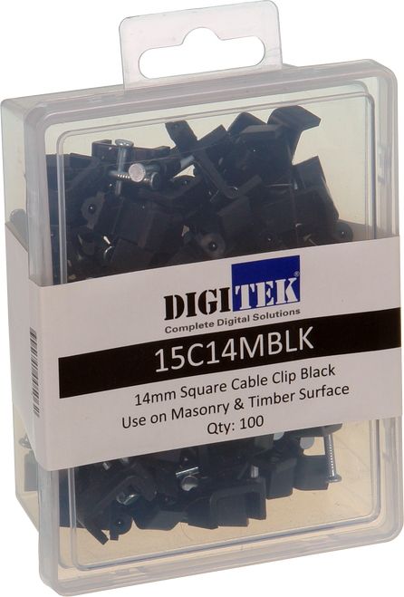 14mm Cable Clip Black to suit Siamese Coaxial Cable