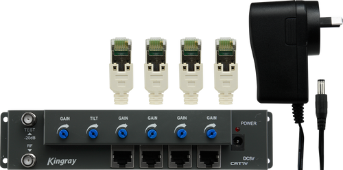 Kingray CAT01 RF over CAT5 Amplifier with 4 outputs - display pack includes 5V DC Power Supply
