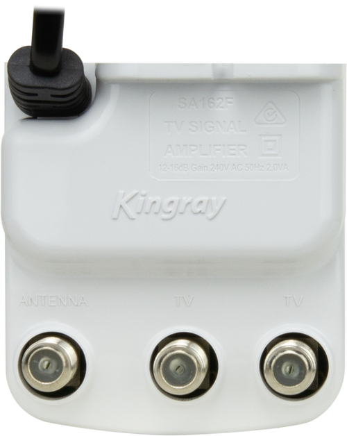Kingray SA162F 16dB Gain 2 Way Splitter Indoor Amplifier with mains power, 47-862MHz Frequency Range