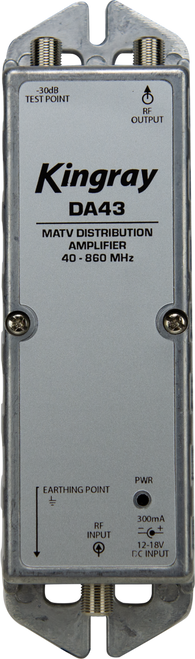 Kingray DA43 43dB Distribution Amplifier, Single Input, 40-860MHz Frequency Range, local or remotely powered