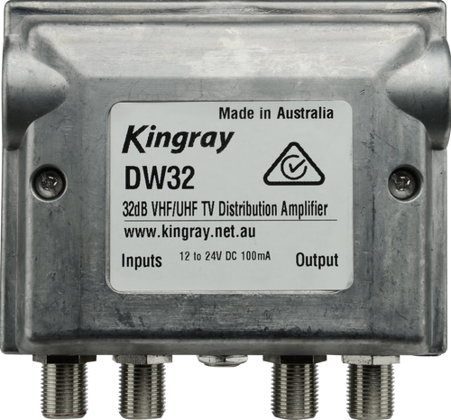 Kingray DW32 32dB Distribution Amplifier, Separate or Combined inputs, 44-230MHz, 520-860MHz, PSK06F Power Supply Included