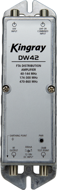 Kingray DW42 40dB Distribution Amplifier, Separate or Combined Input, 40-144MHz, 174-300MHz, 470-860MHz, local or remotely powered