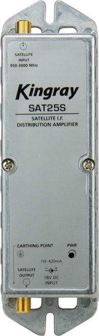 Kingray SAT25S 25dB Gain Distribution Amplifier, Single Input, 950-2400MHz Frequency Range, local or remotely powered
