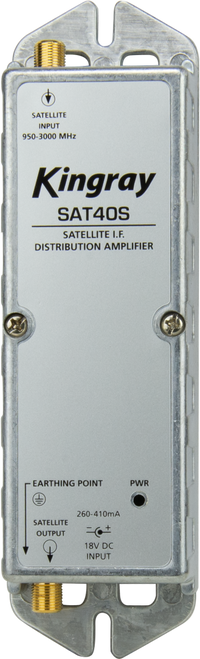 Kingray SAT40S 40dB Gain Distribution Amplifier, Single Input, 950-2400MHz Frequency Range, local or remotely powered