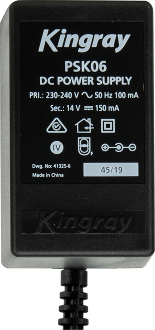 Kingray PSK06 14V DC 150mA Plug Pack with Belling Lee (PAL) connection on power injector