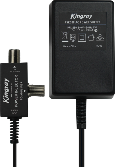 Kingray PSK08F 17.5V AC 100mA Plug Pack with F Type connection on power injector