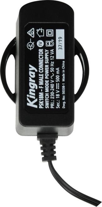 Kingray PSK18M 18V DC 500mA Plug Pack with F-male connector
