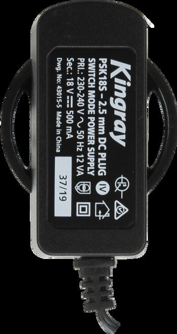 Kingray PSK18S 18V DC 500mA Plug Pack with 2.5mm plug socket