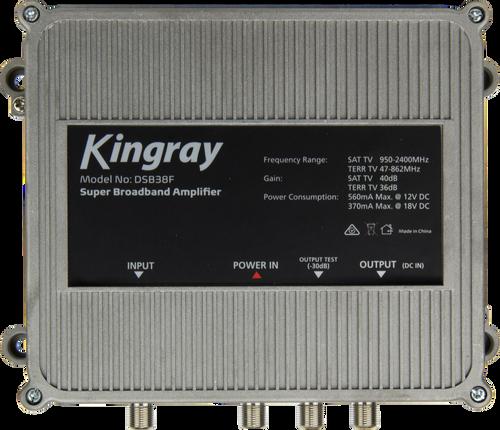 Kingray DSB38F Super Broadband Amplifier - 36dB Gain FTA & 41dB Gain Satellite, 47-2400 MHz Frequency Range