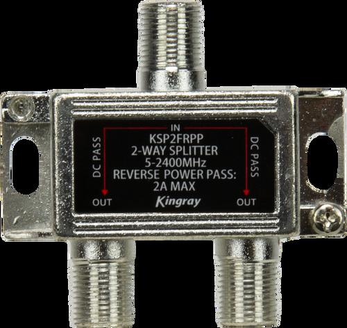 Kingray KSP2FRPP 2 Way Splitter Reverse Power Pass All Ports 30V DC 2 Amp, 5-2400 MHz