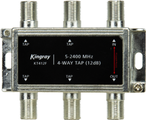Kingray KT412F 4 Way 12dB Tap, Power Pass Through Port, 5-2400 MHz