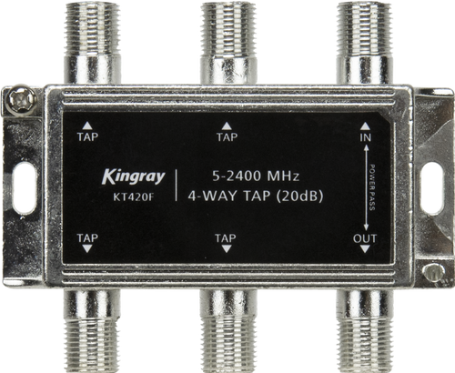 KingrayKT420F 4 Way 20dB Tap, Power Pass Through Port, 5-2400 MHz