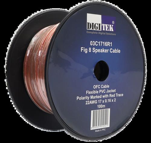 Digitek 17 Strand/0.16mm Clear Jacket Speaker Cable 100m Reel - AWG22