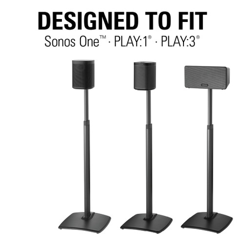 SANUS Premium Adjustable Wireless Speaker Stand for SONOS ONE, PLAY:1 & PLAY:3 Speakers - Black Pair