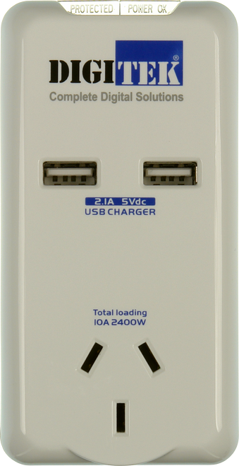 Digitek Single Outlet Surge Protector with 2 x USB Charging Points