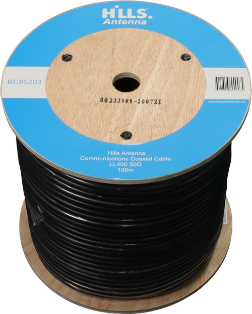 Hills High Quality 50 Ohm LL400/LMR400 Low Loss Coaxial Cable - 100M Roll