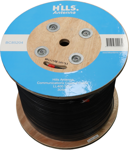 Hills High Quality 50 Ohm LL400/LMR400 Low Loss Coaxial Cable - 305M Roll