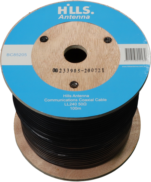 Hills High Quality 50 Ohm LL240/LMR240 Low Loss Coaxial Cable - 100M Roll